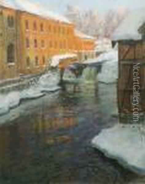 Vinter Ved Akerselven Oil Painting - Fritz Thaulow
