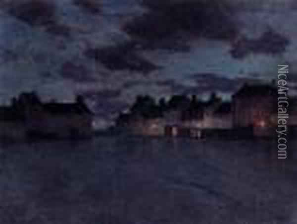 Market Place In France Oil Painting - Fritz Thaulow