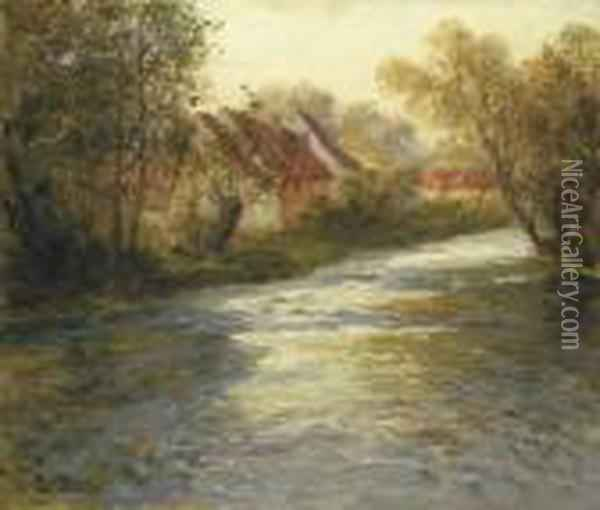 A French River Landscape Oil Painting - Fritz Thaulow