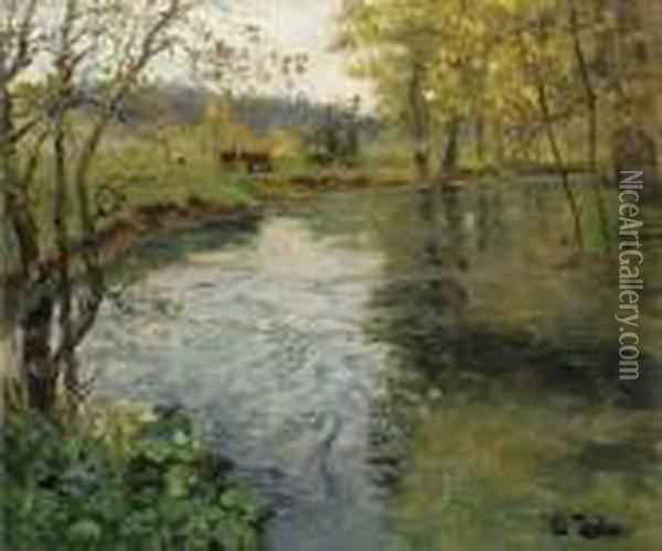 A Landscape With Cows By A Stream Oil Painting - Fritz Thaulow