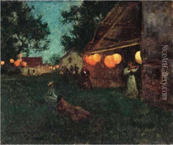 Normandie, 14. Juli (normandy, 14 July) Oil Painting - Fritz Thaulow