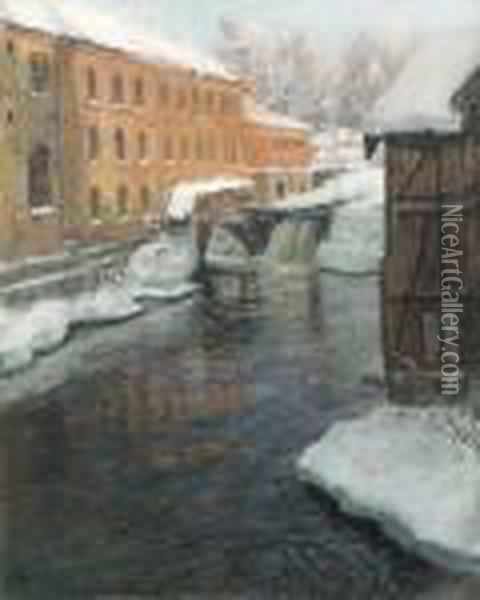 A River Cascade Among Factory Buildings On A Winter's Day Oil Painting - Fritz Thaulow