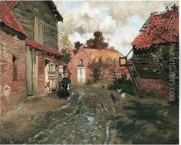 Fransk Landsby (a French Village) Oil Painting - Fritz Thaulow