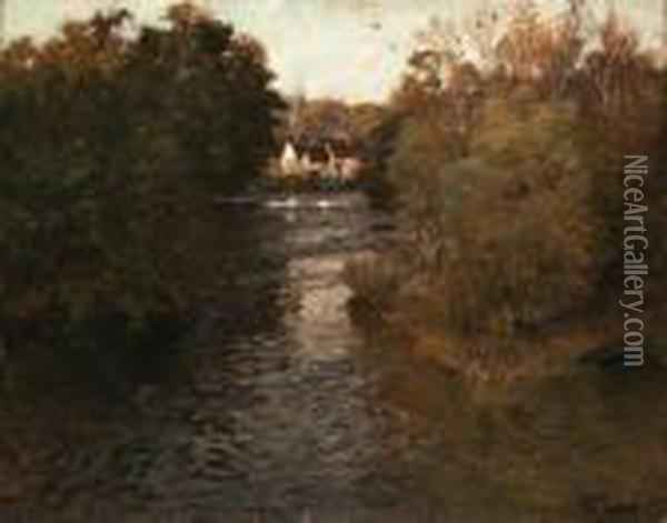 A River Landscape With Cottages Oil Painting - Fritz Thaulow