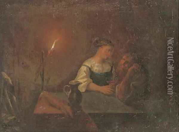 A couple drinking in an interior by candlelight Oil Painting - Godried Schalken