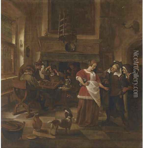 An inn interior with men playing backgammon Oil Painting - Jan Steen