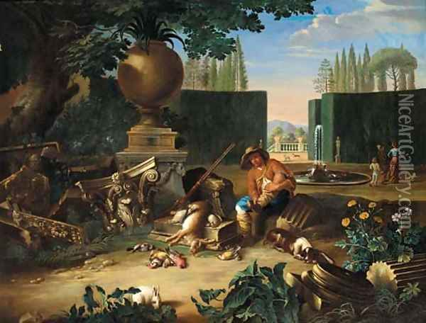 A formal garden with a hunter and his dog resting beside classical ruins, figures and dogs beyond Oil Painting - Pieter Snyers