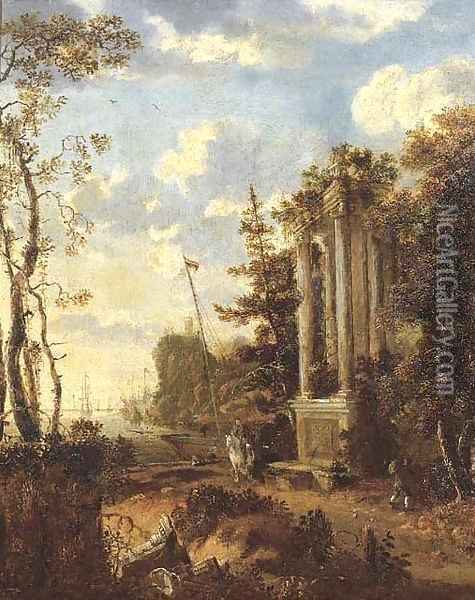 A wooded coastal landscape with travellers by a classical fountain Oil Painting - Jan Gabrielsz. Sonje