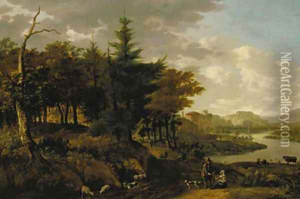 A wooded river landscape with a goatherd, travellers and ruins beyond Oil Painting - Jan Gabrielsz. Sonje
