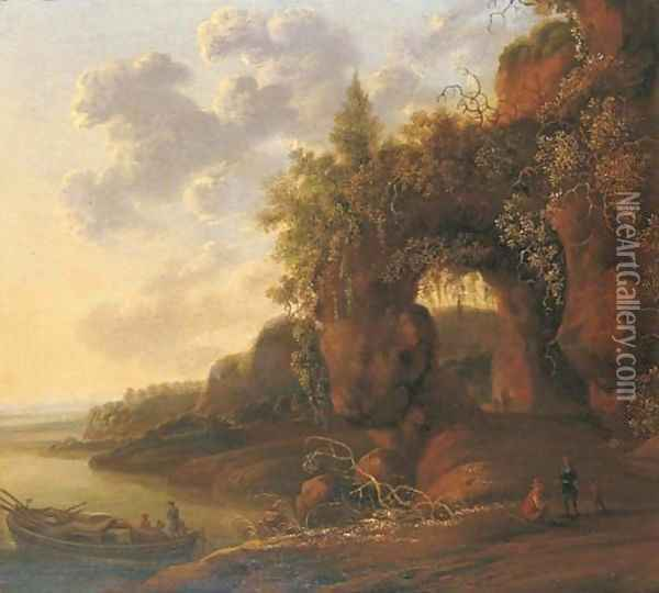 A mountainous river landscape with travellers on a path in the foreground by a moored boat Oil Painting - Jan Gabrielsz. Sonje