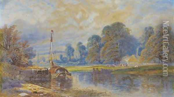 A barge moored on a river, with cattle grazing before a hamlet beyond Oil Painting - James Burrell Smith