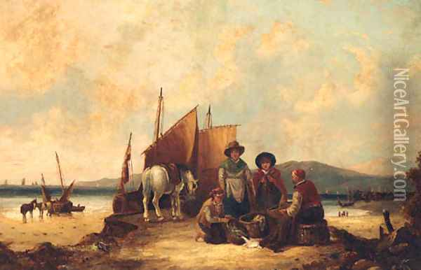 Counting the Catch Oil Painting - William Joseph Shayer