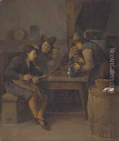 A tavern interior with men drinking, smoking and playing backgammon Oil Painting - Cornelis Schaeck