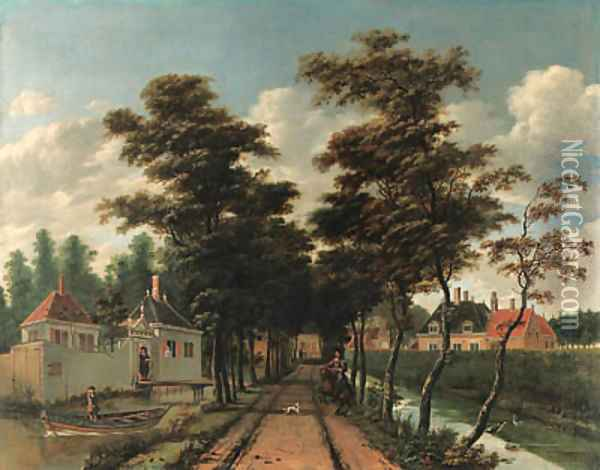 An avenue between two canals with a horseman and a dog Oil Painting - Jan Gabrielsz. Sonje