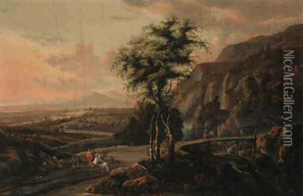 An extensive mountain landscape, with a hawking party on a road by a bridge Oil Painting - Jan Gabrielsz. Sonje