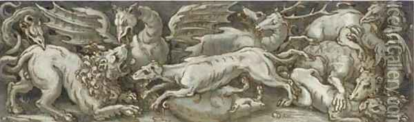A frieze with dragons, dogs, a lion, a boar and a stag fighting Oil Painting - Veronese School