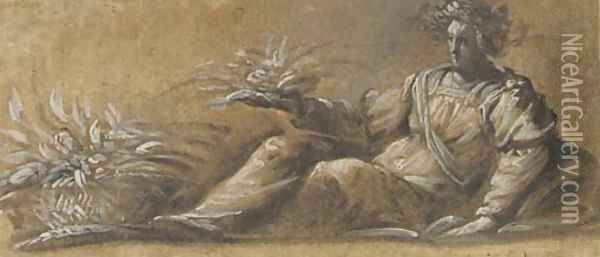 A reclining female crowned with garlands holding a sheaf of wheat, a basket of produce at her feet Oil Painting - Veronese School