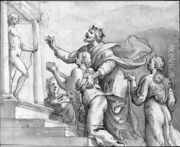 A king bringing his children to a temple dedicated to Apollo Oil Painting - Veronese School