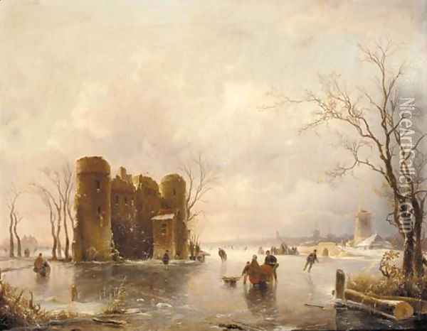 Figures skating on a frozen pond, windmills beyond Oil Painting - Andreas Schelfhout