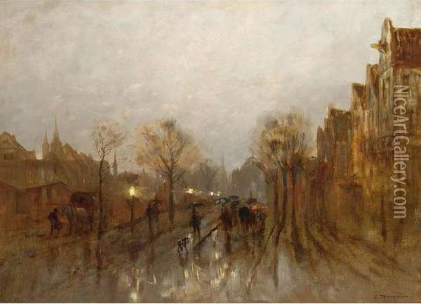 Figures In A Crowded Rainy Street Oil Painting - Desire Tomassin