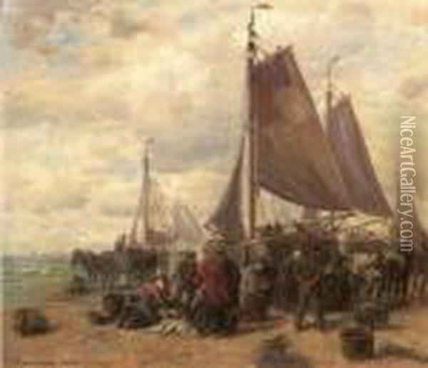 Sorting The Catch On The Beach Of Dunkirk (?) Oil Painting - Desire Tomassin