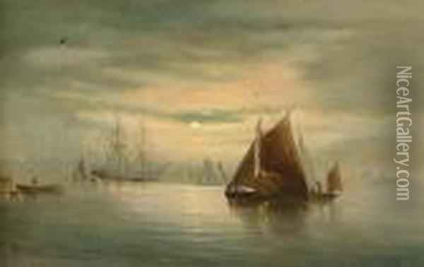 Shipping At Sunset Oil Painting - William A. Thornley Or Thornber
