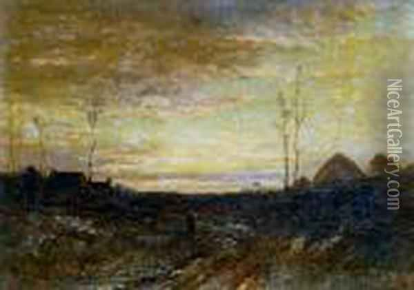 Sunrise, Haystacks And Cottages In The Distance Oil Painting - Joseph Thors