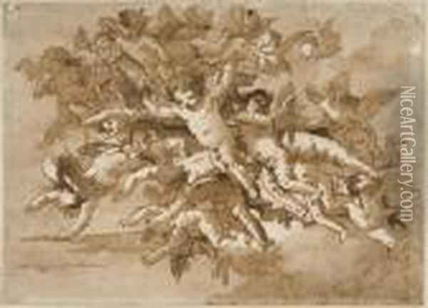Nuee D'angelots Oil Painting - Giovanni Domenico Tiepolo