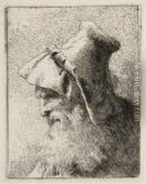 Profile Of An Old Man With A Beard, From: Raccolta Di Teste Oil Painting - Giovanni Domenico Tiepolo