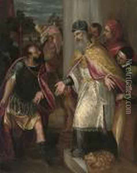 The Emperor Theodosius Refused Admission To The Church By Saint Ambrose Oil Painting - Jacopo Robusti, II Tintoretto