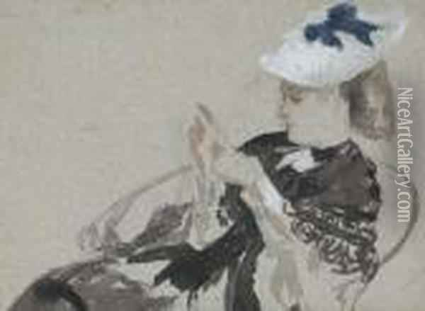 A Young Woman, Seated In Profie To The Left, Wearing A Hat Oil Painting - James Jacques Joseph Tissot