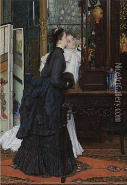Young Ladies Admiring Japanese Objects Oil Painting - James Jacques Joseph Tissot