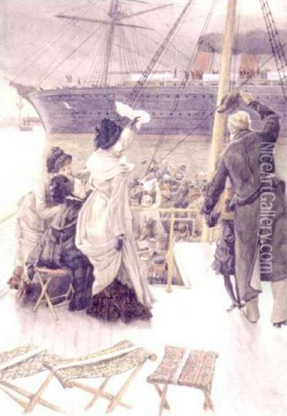 Goodbye, On The Mersey Oil Painting - James Jacques Joseph Tissot
