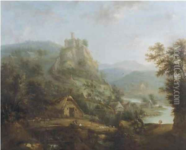An extensive mountain river landscape with a bridge and peasants in a village by a river, a castle in the distance Oil Painting - Christian Cornelis Schutz
