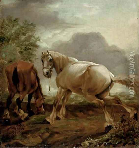 Two horses in a landscape Oil Painting - Dirck Willemsz. Stoop