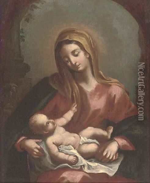 The Madonna and Child Oil Painting - Francesco Solimena