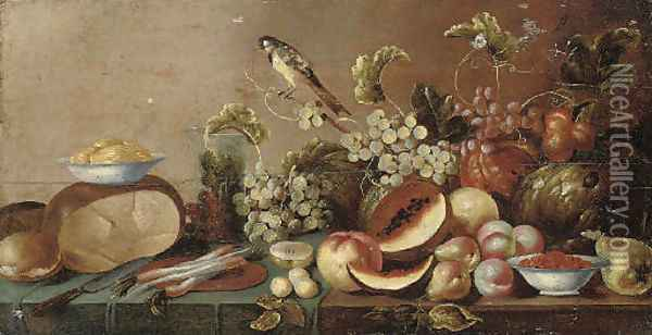 Melons, peaches, pears, grapes on the vine and other fruit Oil Painting - Floris Gerritsz. van Schooten
