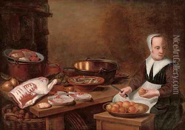 A kitchen interior with a maid seated preparing apples, with meat and fish on a wooden table Oil Painting - Floris Gerritsz. van Schooten
