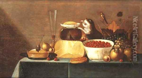 Cheeses, grapes, a bowl of strawberries Oil Painting - Floris Gerritsz. van Schooten