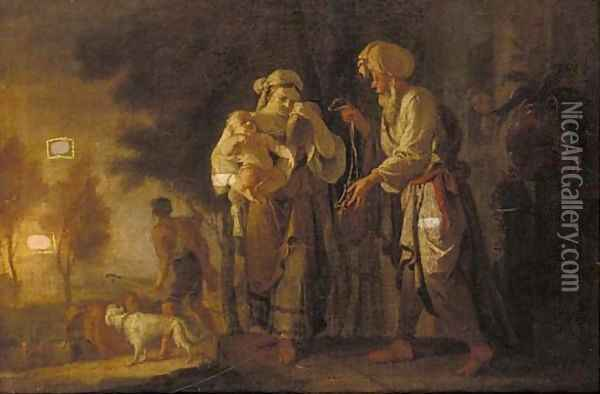 The Banishment of Hagar and Ishmael Oil Painting - Giovanni Camillo Sagrestani