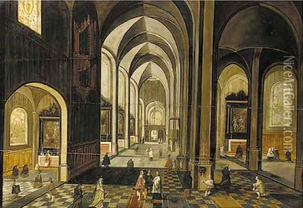 The interior of a gothic church, looking east Oil Painting - Hendrick van, the Younger Steenwyck