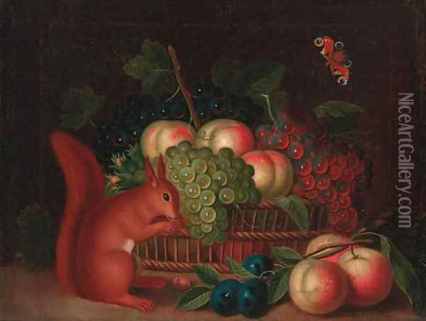 A basket of grapes and peaches, with plums and peaches and a squirrel eating nuts on a ledge Oil Painting - William Sartorius