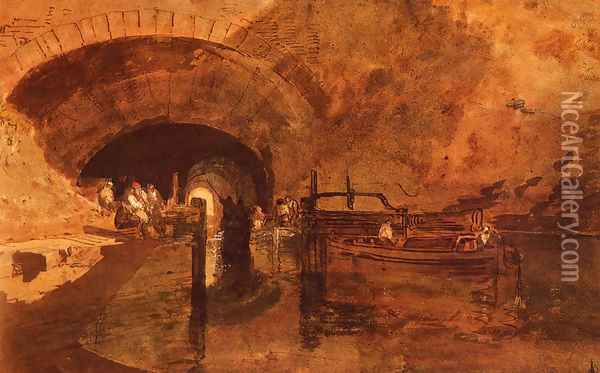 A Canal Tunnel Near Leeds Oil Painting - Joseph Mallord William Turner
