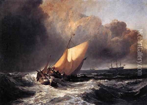 Dutch Boats in a Gale 1801 Oil Painting - Joseph Mallord William Turner