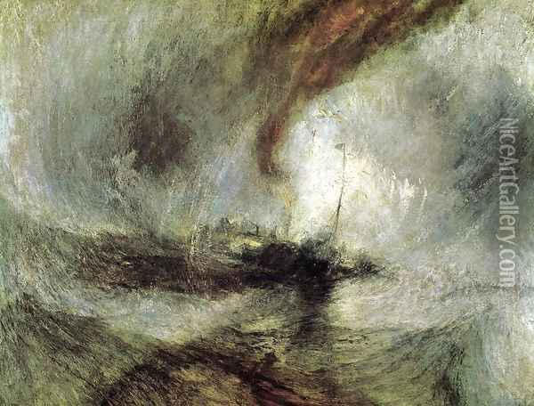 Snow Storm- Steam-Boat off a Harbour's Mouth c. 1842 Oil Painting - Joseph Mallord William Turner