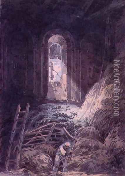A Barn, Interior of the Ruined Refectory of St. Martins Priory, Dover Oil Painting - Joseph Mallord William Turner