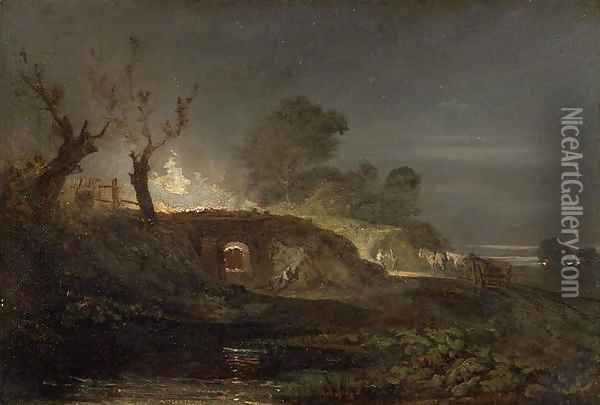 A Lime Kiln at Coalbrookdale, c.1797 Oil Painting - Joseph Mallord William Turner