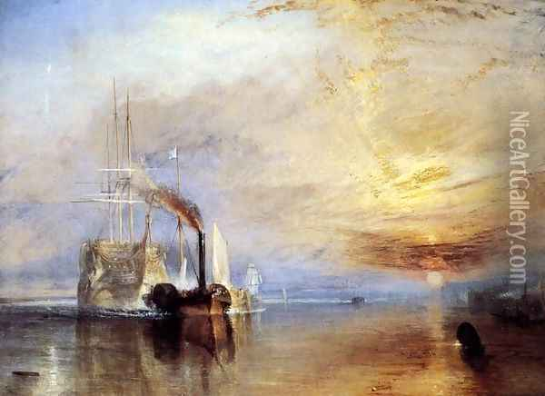 The 'Fighting Temeraire' tugged to her Last Berth to be broken up 1838-39 Oil Painting - Joseph Mallord William Turner