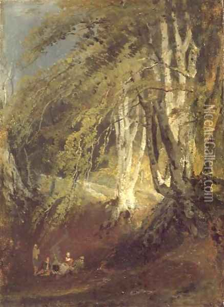 A Beech Wood with Gypsies Seated Round a Campfire, c.1799-1801 Oil Painting - Joseph Mallord William Turner