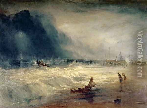 Lifeboat and Manby Apparatus going off to a stranded vessel making signal blue lights of distress , c.1831 Oil Painting - Joseph Mallord William Turner